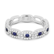 0.43ct Round Cut Sapphire & Diamond Pave Right-Hand Band in 14k White Gold