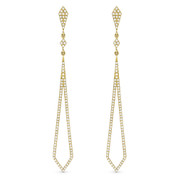 0.43ct Round Cut Diamond Pave Dangling Open Arrow-Stiletto Earrings w/ Pushbacks in 14k Yellow Gold