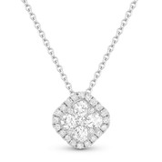 0.44ct Round Brilliant Cut Diamond Cluster & Pave Halo Pendant & Chain Necklace in 14k White Gold