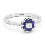 0.44ct Sapphire Cluster & Diamond Pave Right-Hand Flower Ring in 18k White Gold