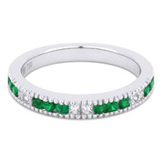 0.44ct Round Cut Emerald & Princess Cut Diamond Milgrain Wedding Band / Anniversary Ring in 18k White Gold