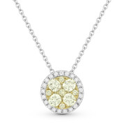 0.46ct Yellow & White Diamond Cluster & Pave Halo Pendant & Chain Necklace in 14k White & Yellow Gold