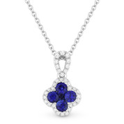 0.46ct Sapphire Cluster & Diamond Pave Flower Charm Pendant & Chain Necklace in 14k White Gold