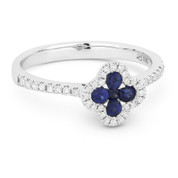 0.47ct Sapphire & Diamond Pave Right-Hand Flower Ring in 14k White Gold