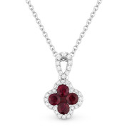 0.49ct Ruby Cluster & Diamond Pave Flower Charm Pendant & Chain Necklace in 14k White Gold