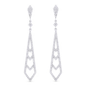 0.50ct Round Cut Diamond Pave Dangling Open Stiletto-Ladder Earrings w/ Pushbacks in 14k White Gold