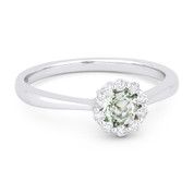 0.50ct Round Brilliant Cut Green Amethyst & Diamond Halo Promise Ring in 14k White Gold