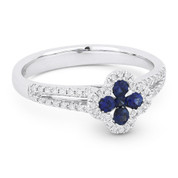 0.50ct Sapphire Cluster & Diamond Double-Halo Right-Hand Splitshank Flower Ring in 14k White Gold