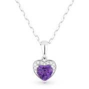 0.50ct Heart-Shaped Amethyst & Round Diamond Heart Charm Pendant & Chain Necklace in 14k White Gold