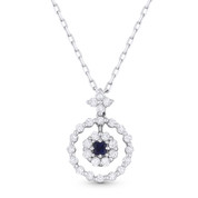 0.50ct Princess Cut Sapphire & Round Brilliant Diamond Pendant in 18k White Gold w/ 14k Chain Necklace
