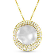 0.50ct Diamond & Hammered Centerpiece Statement Pendant & Chain Necklace in 14k Yellow & White Gold