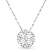 0.51ct Round Brilliant Cut Diamond Cluster & Pave Halo Pendant & Chain Necklace in 14k White Gold
