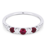 0.51ct Round Cut Ruby & Diamond Stackable Anniversary Ring / Wedding Band in 18k White Gold