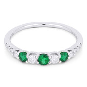 0.52ct Round Cut Emerald & Diamond Stackable Anniversary Ring / Wedding Band in 18k White Gold
