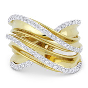 0.52ct Round Cut Diamond Right-Hand Overlap Wrap Fashion Ring in 14k Yellow & White Gold