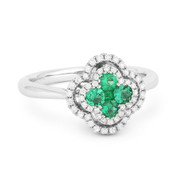 0.54ct Emerald Cluster & Diamond Double-Halo Right-Hand Flower Ring in 18k White Gold