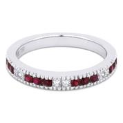 0.55ct Round Cut Ruby & Princess Cut Diamond Milgrain Wedding Band / Anniversary Ring in 18k White Gold