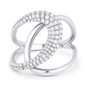 0.56ct Round Cut Diamond Pave Overlap Loop Right-Hand Statement Ring in 14k White Gold