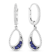 0.56ct Round Cut Sapphire & Diamond Pave Dangling Earrings in 14k White & Black Gold