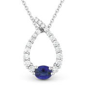 0.56ct Sapphire & Diamond Water Drop Charm Journey Pendant & Chain Necklace in 14k White Gold