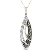 0.57ct White & Brown Round Cut Diamond Pave Pendant & Chain Necklace in 14k White, Rose, & Black Gold