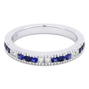 0.57ct Round Cut Sapphire & Princess Cut Diamond Milgrain Wedding Band / Anniversary Ring in 18k White Gold