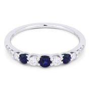 0.57ct Round Cut Sapphire & Diamond Stackable Anniversary Ring / Wedding Band in 18k White Gold