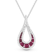 0.58ct Round Brilliant Ruby & Diamond Pave Tear-Drop Pendant & Chain Necklace in 14k White Gold