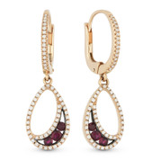0.58ct Round Cut Ruby & Diamond Pave Dangling Earrings in 14k Rose & Black Gold