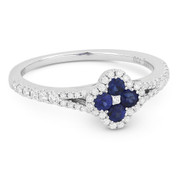0.58ct Sapphire Cluster & Diamond Double-Halo Right-Hand Splitshank Flower Ring in 18k White Gold