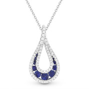 0.58ct Round Brilliant Sapphire & Diamond Pave Tear-Drop Pendant & Chain Necklace in 14k White Gold