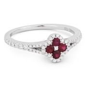 0.59ct Ruby Cluster & Diamond Double-Halo Right-Hand Splitshank Flower Ring in 18k White Gold