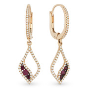 0.60ct Round Cut Ruby & Diamond Pave Dangling Earrings in 14k Rose & Black Gold