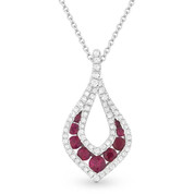 0.60ct Round Brilliant Ruby & Diamond Pave Tear-Drop Pendant & Chain Necklace in 14k White Gold