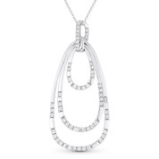0.60ct Round Cut Diamond Pear-Shaped Loop Stack Pendant & Chain Necklace in 14k White Gold