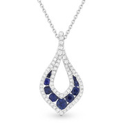 0.60ct Round Brilliant Sapphire & Diamond Pave Tear-Drop Pendant & Chain Necklace in 14k White Gold