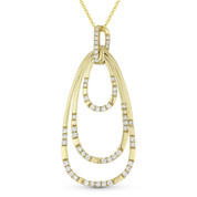 0.60ct Round Cut Diamond Pear-Shaped Loop Stack Pendant & Chain Necklace in 14k Yellow Gold