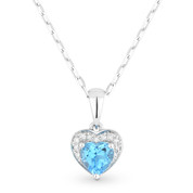 0.61ct Heart-Shaped Blue Topaz & Round Diamond Heart Charm Pendant & Chain Necklace in 14k White Gold