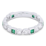 "0.61ct Emerald & Diamond ""S"" & Square Setting Stackable Band in 18k White Gold"