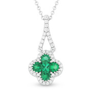 0.63ct Round & Princess Cut Emerald & Diamond Pave Flower Charm Pendant & Chain Necklace in 14k White Gold