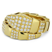 0.65ct Round Brilliant Cut Diamond Serpentine Bypass-Design Right-Hand Ring in 18k Yellow Gold