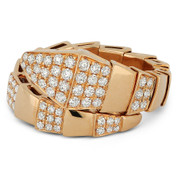 0.65ct Round Brilliant Cut Diamond Serpentine Bypass-Design Right-Hand Ring in 18k Rose Gold