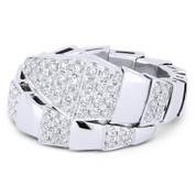 0.65ct Round Brilliant Cut Diamond Serpentine Bypass-Design Right-Hand Ring in 18k White Gold