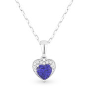 0.67ct Blue Lab-Created Sapphire & Diamond Heart Charm Pendant & Chain Necklace in 14k White Gold