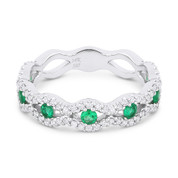 0.68ct Round Cut Emerald & Diamond Pave Evil Eye Charm Ring in 14k White Gold