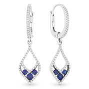 0.69ct Round Cut Sapphire & Diamond Pave Dangling Earrings in 14k White & Black Gold