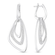 0.70ct Round Cut Diamond Pave Open-Design-Stack Drop Earrings in 14k White Gold