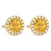 1.02ct Round Brilliant Cut Citrine & Diamond Martini Stud Earrings in 14k Yellow Gold