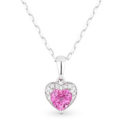 0.71ct Pink Lab-Created Sapphire & Diamond Heart Charm Pendant & Chain Necklace in 14k White Gold
