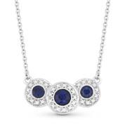 0.71ct Round Brilliant Cut Sapphire & Diamond Pave Triple-Halo Pendant & Chain Necklace in 18k White Gold